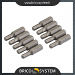 Reference : TOO427584 - 10 embouts 6 pans chrome-vanadium - Embout hexagonal 4 mm