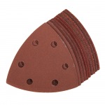 Reference : TOO383444 - Feuilles abrasives triangulaires auto-agrippantes 90 mm, 10 pcs - Grains assortis : 4 x 60, 2 x 80, 2 x 120, 2 x 2